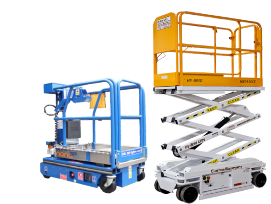 Power Tower Nano SP Vertical Lift and Hy-Brid HB1430CE Scissor LIft